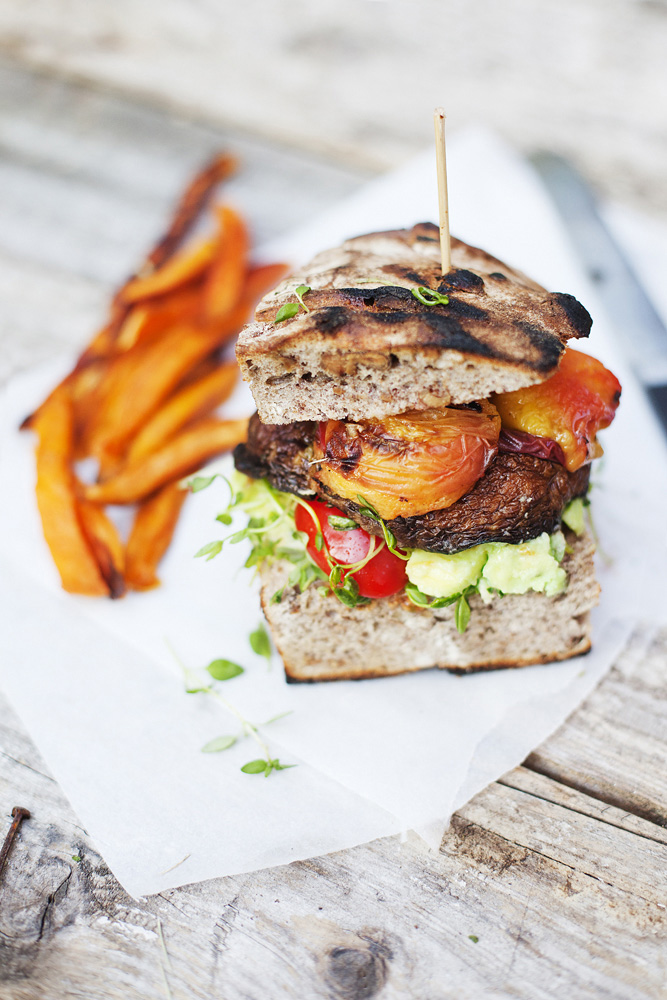 Portobello Peach Burger For Designsponge Green Kitchen Stories