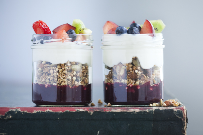 Sprouted Granola with Yogurt, Blueberry Sauce & Fresh Fruit