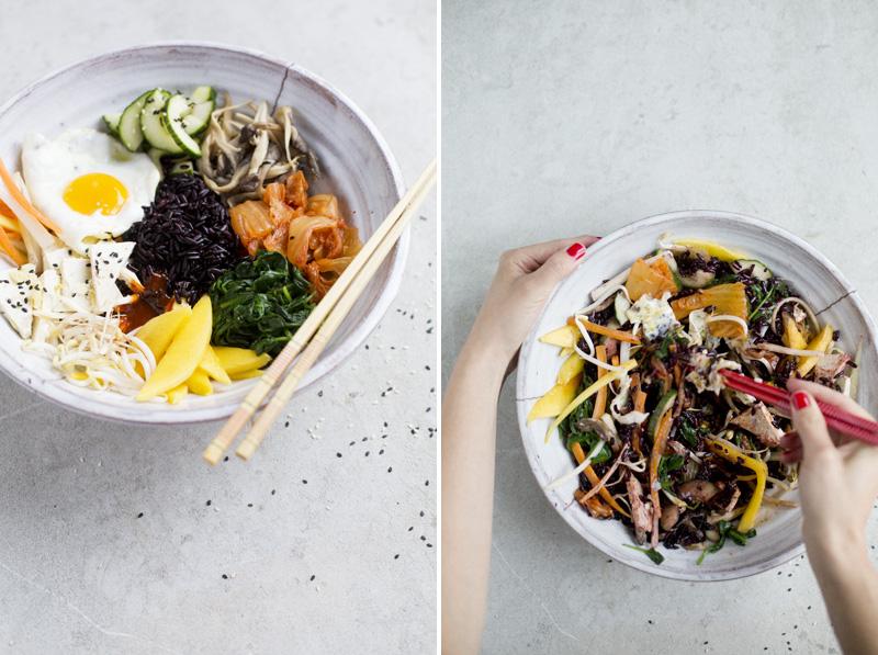 green kitchen stories bibimbap with tofu pickled vegetables. Black Bedroom Furniture Sets. Home Design Ideas