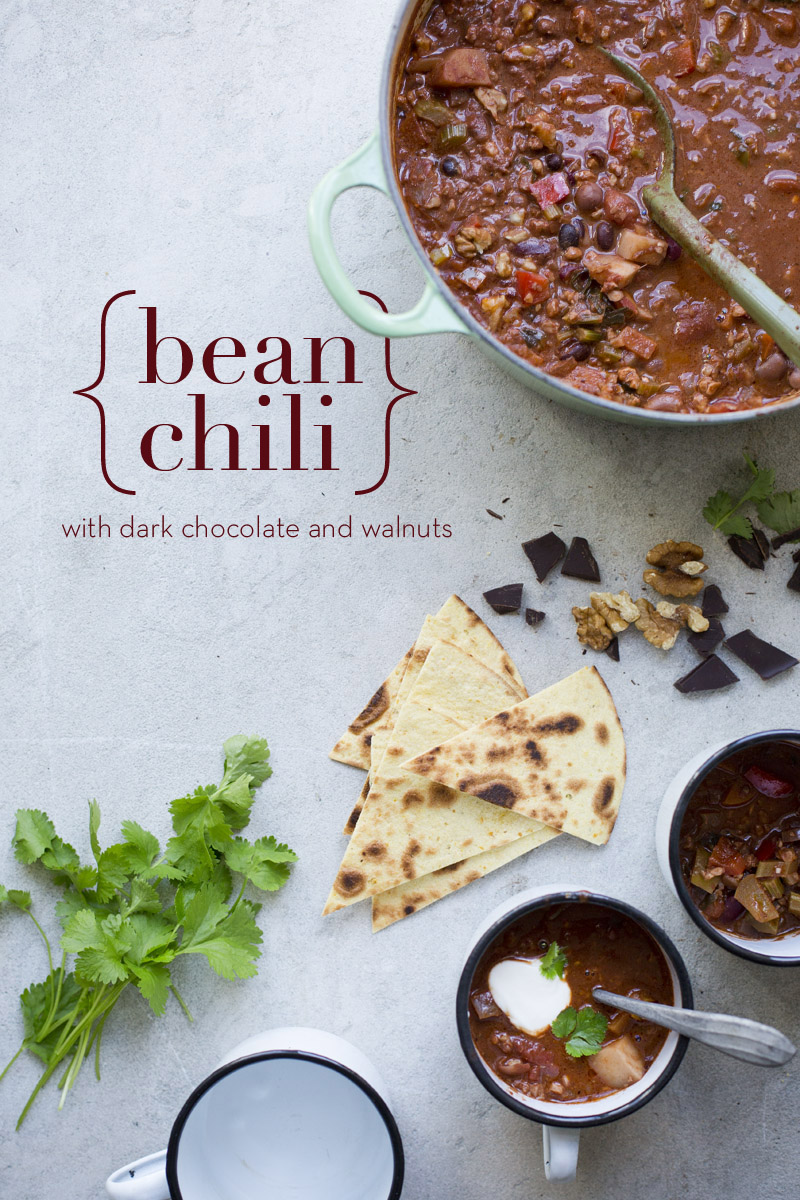 Bean Chili With Walnuts Chocolate Green Kitchen Stories