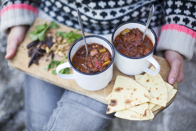 Bean Chili with Walnuts & Chocolate