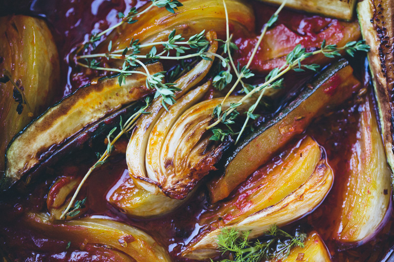 Braised Fennel with Saffron & Tomato