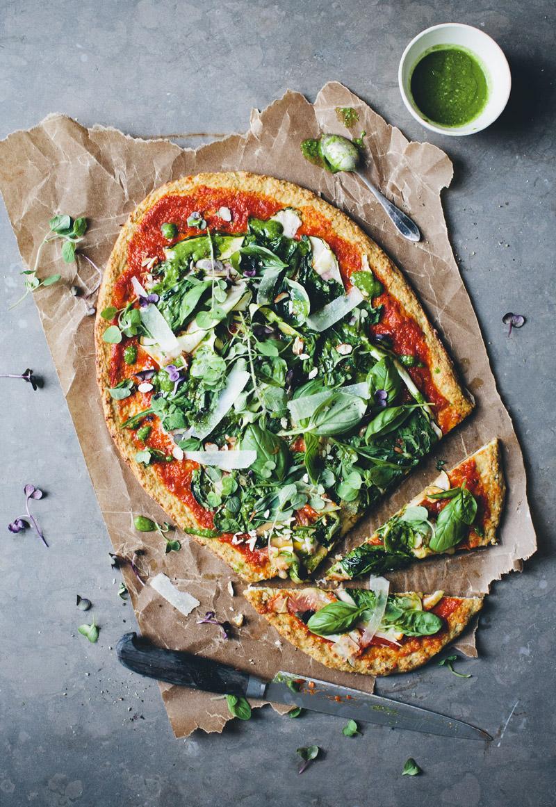 Green Pizza With A Cauliflower Base Green Kitchen Stories