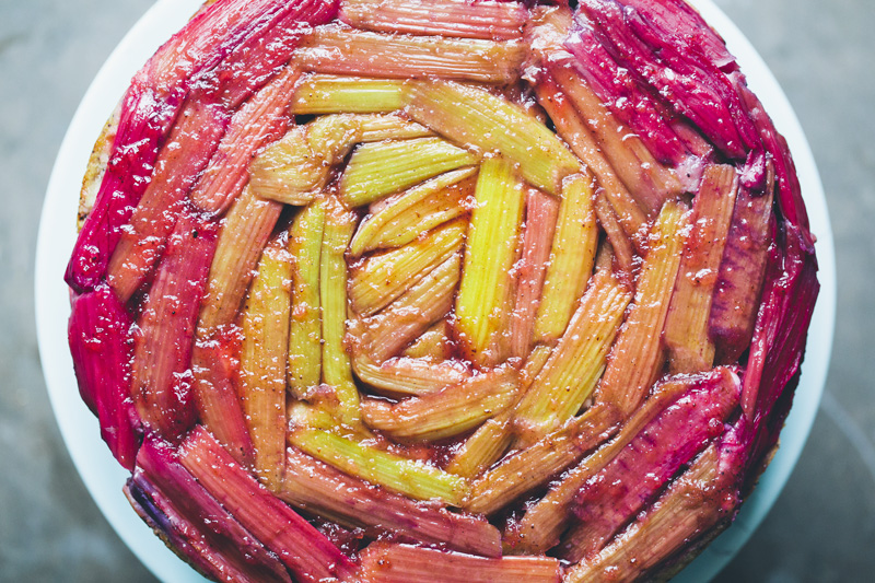 Rhubarb Upside-Down Yogurt Cake
