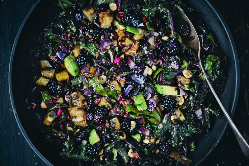 Purple Kale, Aubergine & Blackberry Salad