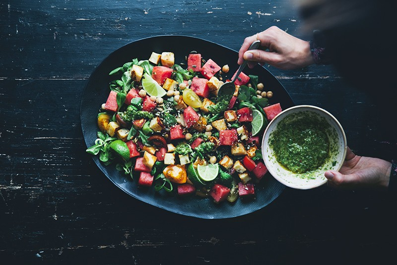 Watermelon & Halloumi Salad with Magic Sauce