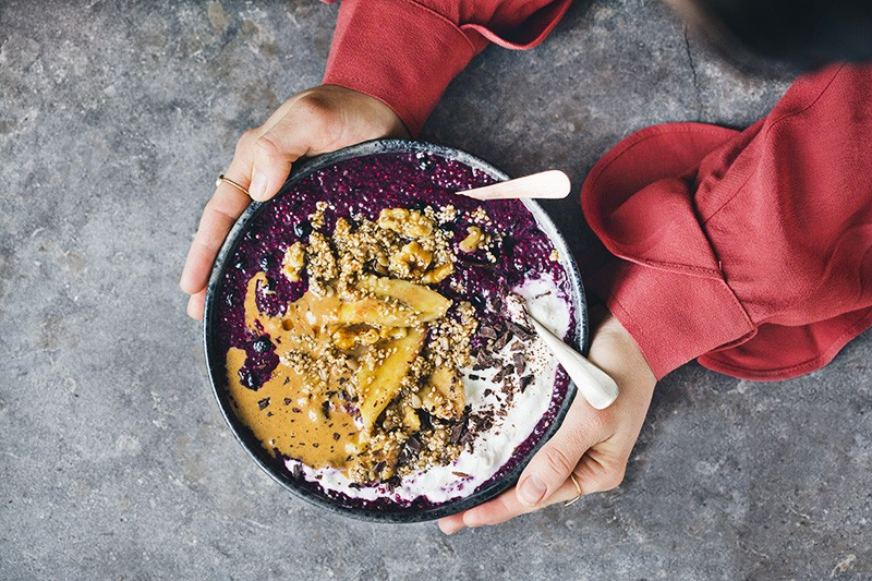 Blueberry Chia Bowl with Warm Banana and Sesame Brittle
