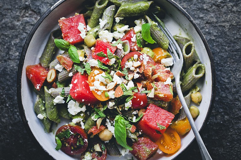 Creamy Spinach Penne with Watermelon