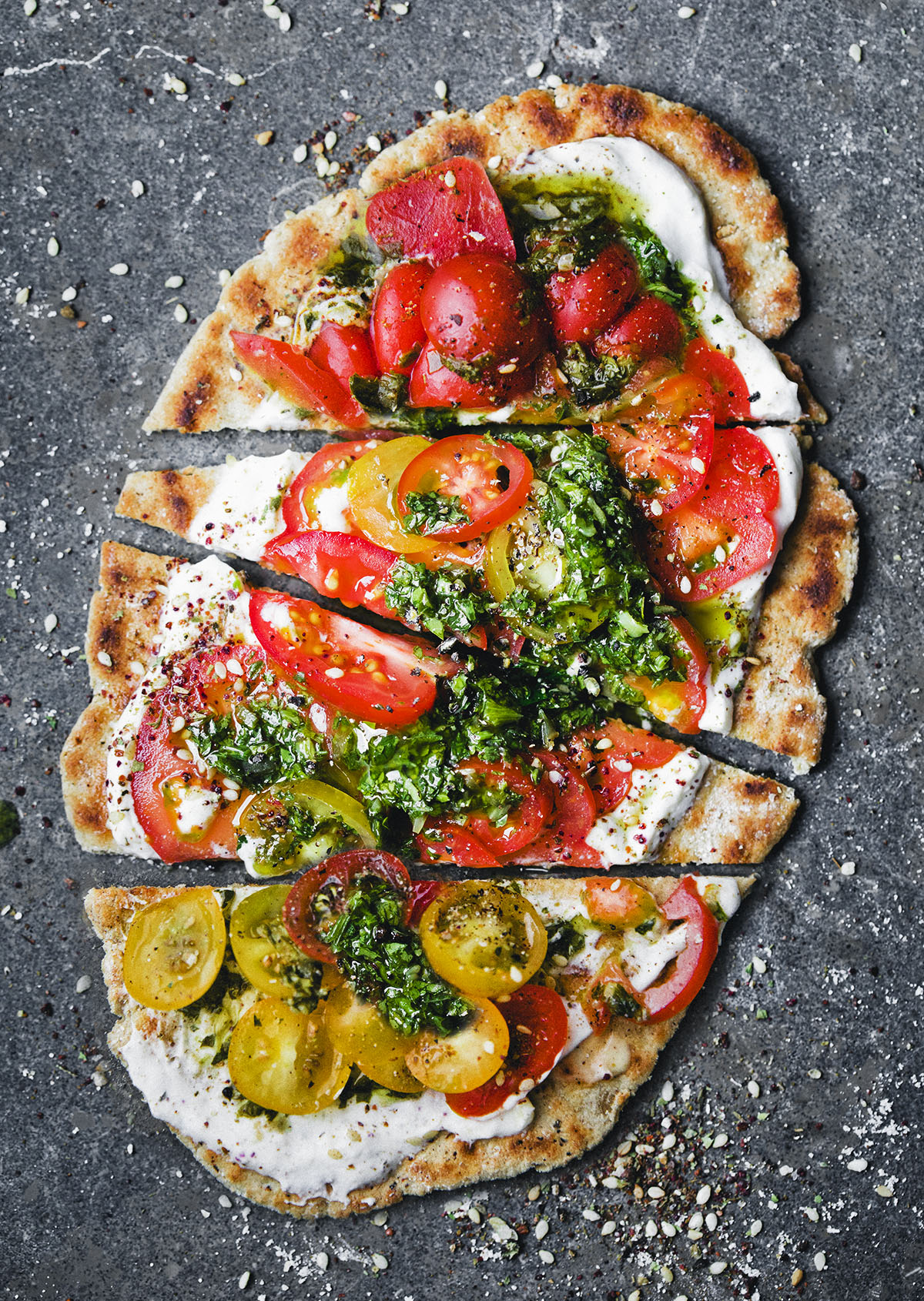 Photo of Oat & Yogurt Flatbread with Green Sauce and Tomatoes